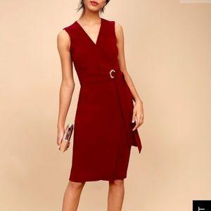 Lulus faux wrap midi sheath dress